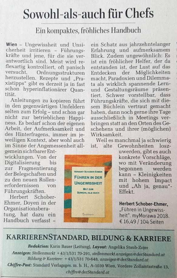 Schober-Ehmer_Fuehren-in-Ungewissheit_Rezension_DerStandard_10.11.2018